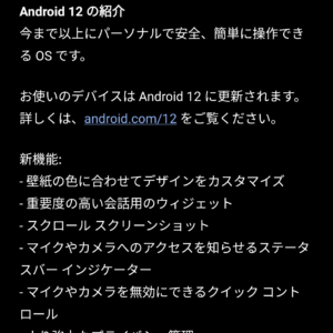 Android 12 アップデート画面